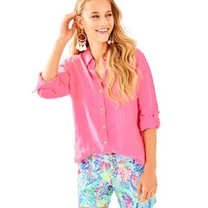 Lilly Pulitzer Sea View Button Down Top, Pink